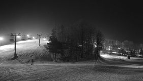 Ski lifts at night Royalty Free Stock Photo