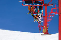Ski lifts with people in a romanian ski resort Stock Images