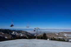 Ski lifts in the ski resort stock photo