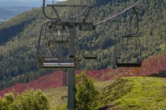 Ski lifts at the ski resort in summer royalty free stock photography