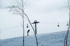 The ski lifts in shahdag mountain skiing resort Stock Images
