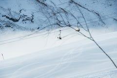 The ski lifts in shahdag mountain skiing resort stock image