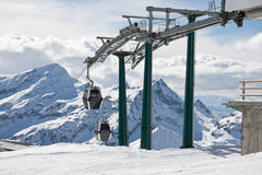 Ski lifts and ski slope Royalty Free Stock Image