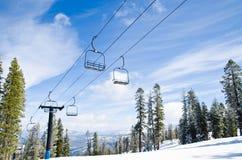 Ski lifts at ski/snowboard resort. Photo of chair lifts taken at one of the ski resort at lake Tahoe in California Stock Images