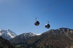 Ski lifts to Shymbulak ski resort Royalty Free Stock Image