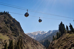 Ski lifts to Shymbulak ski resort Stock Photography