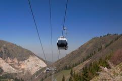 Ski lifts to Shymbulak ski resort Stock Image