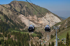 Ski lifts to Shymbulak ski resort Stock Photography
