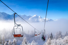 Ski lifts at Vogel mountains in winter, Slovenia. Royalty Free Stock Photo