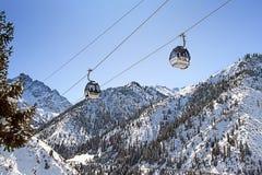 Ski lifts in winter Stock Image