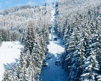 Ski lifts in Zillertal Arena ski resort in Tyrol Austria. Ski lifts in Zillertal Arena ski resort in Zillertal in Tyrol. Mayrhofen in Austria in winter in Alps royalty free stock photos
