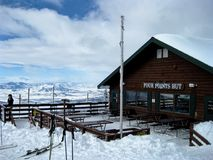 Ski Lodge. A small lodge at the top of the mountain in Steamboat Springs, Colorado stock image