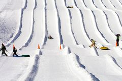 Ski Lodge Snow Tubing Runs Stock Photography