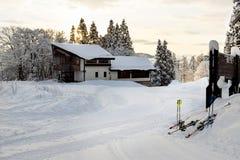 Ski lodges during early morning sunrise Stock Photos