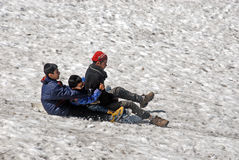 Ski Lovers. Children doing ski on the snow of Auli Royalty Free Stock Photography