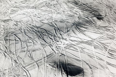 Ski marks in the snow covered mountains Royalty Free Stock Images