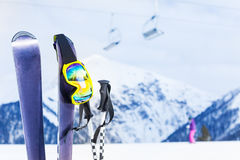 Ski with mask and pole, chairlift on background Royalty Free Stock Photos