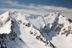 Ski Mountain. Beautiful Mountain with Ski Run Cutting Across royalty free stock photography