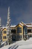 Ski mountain condo in a winter scene royalty free stock photography