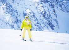 Ski in mountain is fun Stock Photo