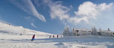 Ski mountain resort. On a sunny day Royalty Free Stock Photos