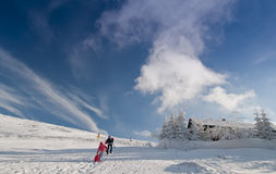 Ski mountain resort. On a sunny day Royalty Free Stock Images