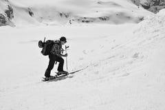 Ski mountaineer advacing toward Diavolezza mountain in Switzerland royalty free stock image