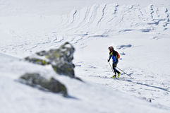 Ski mountaineer during competition in Carpathian Mountains Royalty Free Stock Images