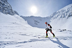 Ski mountaineer during competition in Carpathian Mountains Royalty Free Stock Image