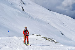 Ski mountaineer during competition in Carpathian Mountains Royalty Free Stock Photos