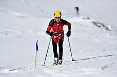Ski mountaineer during competition in Fagaras Mountains Stock Images