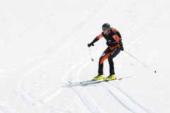 Ski mountaineer rides from Avachinsky Volcano. Team Race ski mountaineering Championship Stock Images