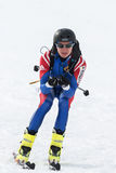 Ski mountaineer rides from mountain. Team Race ski mountaineering. Russia, Kamchatka Stock Images