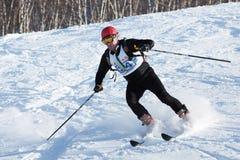 Ski mountaineer rides skiing on mountain Stock Photography