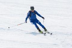 Ski mountaineer skiing the mountain. Team Race ski mountaineering Asian, ISMF, Russian, Kamchatka Championship Royalty Free Stock Photography