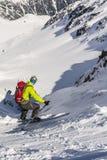 Ski mountaineering during downhill skiing. Stock Photos