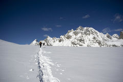 Ski mountaineering. On mount cazzola in italy Stock Image