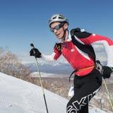 Ski mountaineering, Vertical race: ski mountaineer climb on skis on mountain. MOUNTAIN MOROZNAYA, ELIZOVO, KAMCHATKA, RUSSIA - APRIL 25, 2014: Vertical race. Ski Stock Photos