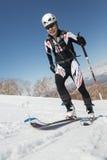 Ski mountaineering, Vertical race: ski mountaineer climb on skis on mountain Stock Images