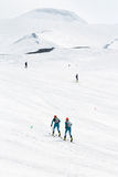 Ski mountaineers climb the Avacha Volcano on skis. Team Race ski mountaineering on Kamchatka Stock Photos
