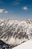 Ski Mountains. Beautiful Mountain with Ski Runs and Blue Sky stock photos