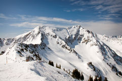 Ski Mountains. With Bright Blue Sky stock photo