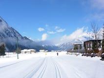 ski narciarka jeden ślad Zdjęcie Royalty Free