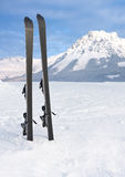 Ski op sneeuw in de winterbergen royalty-vrije stock afbeelding
