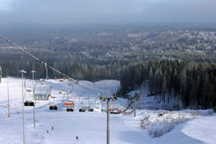 Ski Park. View of a ski park and forest Royalty Free Stock Photos