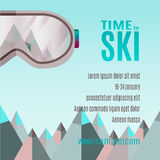 Ski Party Poster Template con el soporte y los sunglass Fotografía de archivo libre de regalías