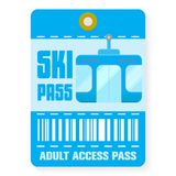 Ski pass template with shadow , flat style royalty free illustration