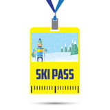 Ski Pass Template With Barcode Images libres de droits
