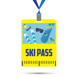Ski pass template with barcode.blue ribbon .inventory for winter holidays.flat design Stock Images