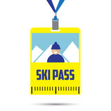 Ski pass template with barcode royalty free illustration